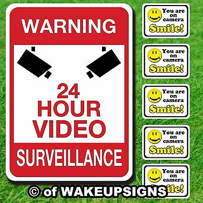 Lot Your You Are On Camera Decal Stickers And Aluminum Video Surveillance Sign