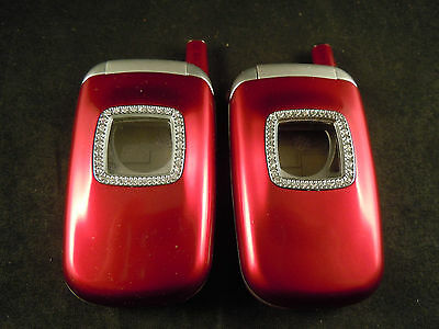A pair of new old stock Samsung T500 mobile phone replacement housings