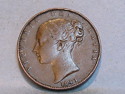 Victorian **young Head** Copper Farthing Coin  Dated 1841
