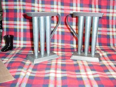 """2 - 3 Tube 6"""" Tin Candle Holder and   Candle Molds"""