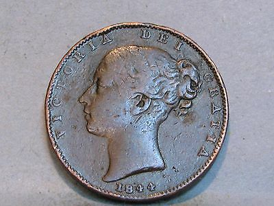 Victorian **young Head** Copper Farthing Coin  Dated 1844