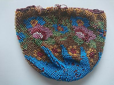 Multi Coloured Victorian Micro Beaded Coin Purse - Antique Fashion Accessory