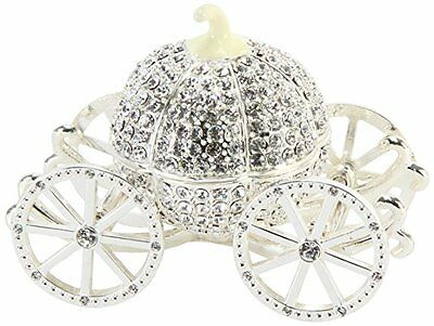 Crystal Pumpkin CARRIAGE Silver + Cream Trinket Box / Ornament Gift *NEW*