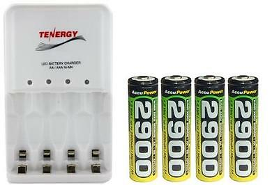 4 Bay AA / AAA LED Smart Charger + 4-Pack AA Accupower 2900 mAh NiMH Batteries
