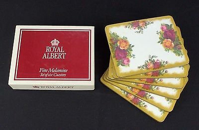 6 Royal Albert Old Country Roses Melamine Coasters Boxed