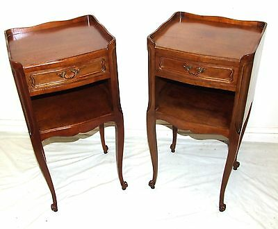 PAIR French Louis XV Style Satin Walnut Bedside Cabinets Lamp Stand