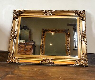 ANTIQUE GOLD ORNATE FRENCH BEVELLED WOOD WALL OVERMANTLE MIRROR 115cm x 85cm