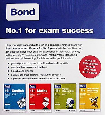 Bond 11+ Assessment Papers (Book 1) 4 Books Set: 9-10 Years [Edition 2015] - New