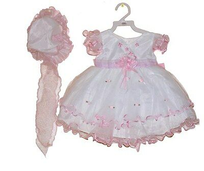 New Baby-Infant Girls Sevva Hot Pink- White-Ivory Frilly Occasion Dress & Bonnet