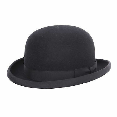 Childs Boys Girls 100% Wool Felt Bowler Hat with Elasticated Band
