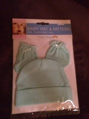 First Steps Baby Boys Mittens And Hat