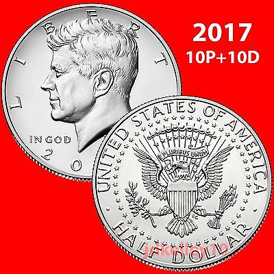 2017 Kennedy Half Dollar $10 Roll 10 P & 10 D Uncirculated From Us Mint In Tube