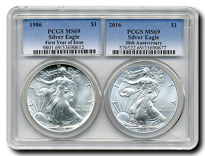 "2016 ""30th Anniversary Special"" Silver Eagle 2-Coin Set with 1986 1st Year of Is"