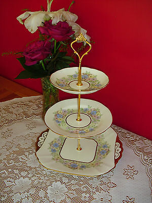 Lovely Vintage Fenton  bone china   3 tier cake stand creamy /pale yellow