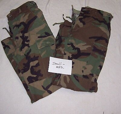 LOT OF 2 SIZE S/M SMALL MED REG US Military ARMY WOODLAND Camo Combat PANTS