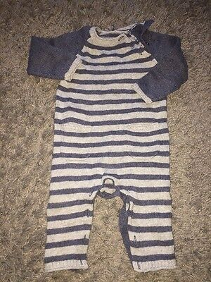 Tu Baby Boys Blue Stripe All In One Knitted Outfit Onesie  6-9 Months