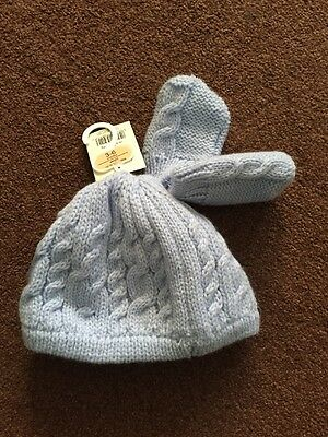 BNWT BABY BOYS Blue 3-6 MONTHS KNITTED HAT MITTENS SET GEORGE ASDA NEW