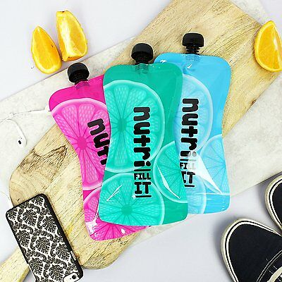 Nutri Fill-It Large Re-Usable Smoothie Pouches (pack of 6 pouches) Adults & Kids