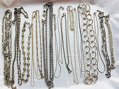 Job Lot Costume Jewellery 18 Assorted Silver Tone Chains.  123c