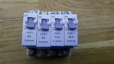 Crabtree type 1 6A- 32A BS 3871 Breakers