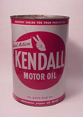 Vintage Kendall 5 Quart Oil Can Imperial Gallon 2000 Mile Oil