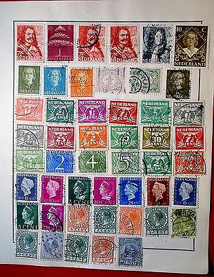 Holland Forty-Nine Stamps On Old Album Page Used