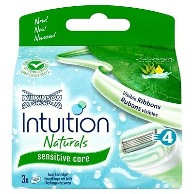Genuine Wilkinson Sword Ladies Intuiton Naturals Razor Blades 3 Pack