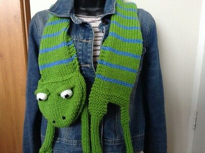 Cute hand knitted animal frog children's scarf bright green and blue stripes