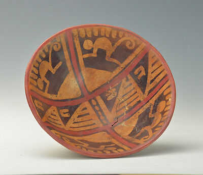 Pre Columbian Pottery Carci Narino Footed Bowl With Anthropomorphic Motifs