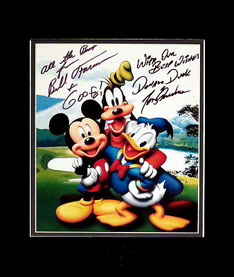 Disney Goofy and Donald Duck Matted Photo Autographed By Voices Farmer & Anselmo