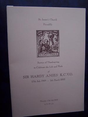 Sir Hardy Amies  - Celebration of Life  program -  Social History -  Ephemera