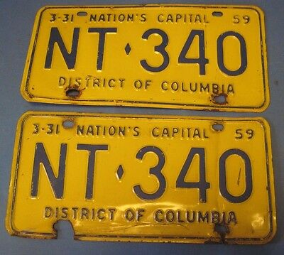 1959 DC license plates matched pair