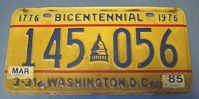 1976 DC Bicentennial license plate with 85 stickers