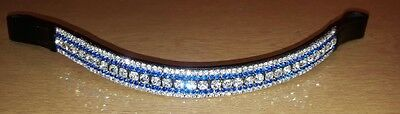 BLING!*Dressage*Mega-Sparkly Leather Browband*5-Row Crystals*CLEAR/BLUE FULL