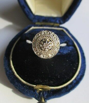 Bague ancienne Art Déco - Diamants - French gold ring or blanc 18 carats 750