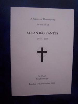 Susan Barrantes - Celebration of Life  program -  Social History -  Ephemera