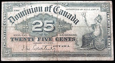 1900 Dominion of Canada, 25c - 25 Cents Banknote OTTAWA