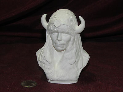 Ceramic Bisque Small Native American Indian Bust with Buffalo Hat U Paint