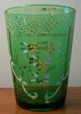 Antique Vintage Collectible Green Painted Glass