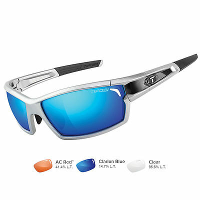 Tifosi Camrock Silver/Black Interchangeable Sunglasses Clarion Blue/AC Red&trade