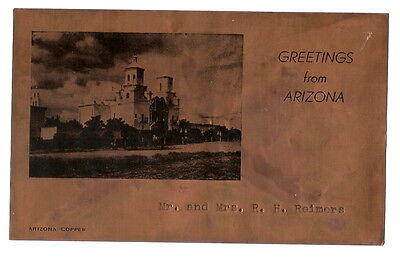 """Vintage """"Greetings from Arizona"""" Paper-Thin Copper Sheet, Mission Image, Names"""