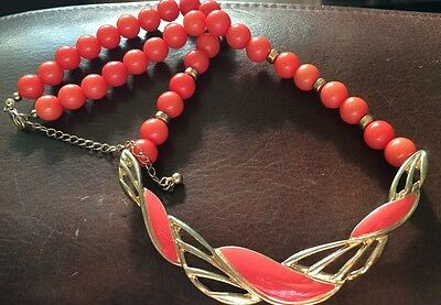 Vintage 1980s Art Deco style Enamel Painted Metal Tab And Beaded necklace