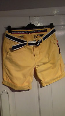 """New Men's SUPERDRY 'International CHINO' Shorts UK Size L (32""""W) in Yellow"""