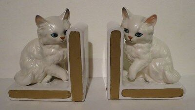 Vintage White Persian Cat Kitten Bookends Book Ends