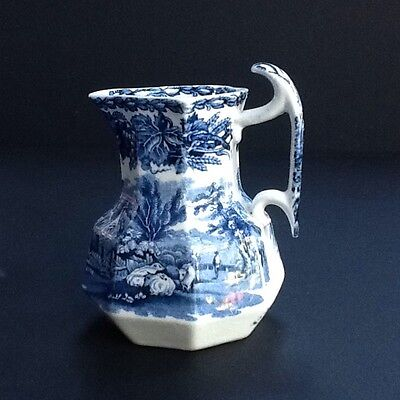 Booths small vintage blue and white jug british scenery pattern