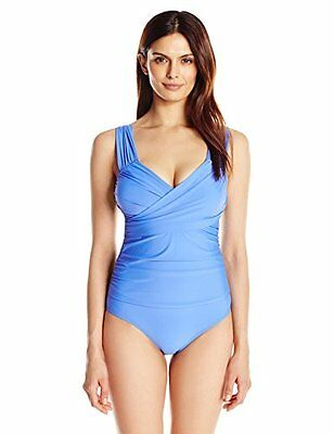 763f8430548a0 Athena Solid Cabana Soft Cup Wrap One Piece Swimsuit Blue Size 14 New! $108