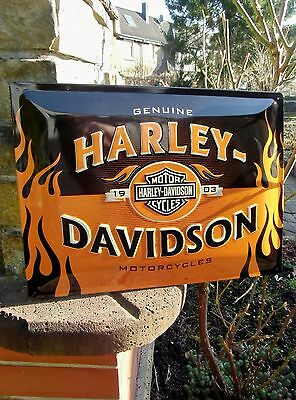 Official HARLEY-DAVIDSON Motorcycles GENUINE 1903 Flames Embossed Wall Sign
