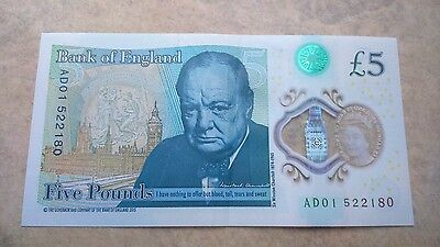 New £5 pound note polymor serial no AD01.