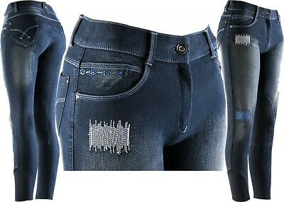 Equi-Theme Fleur Denim Ladies Jean Breeches Blue Denim Knee Patches Stretch