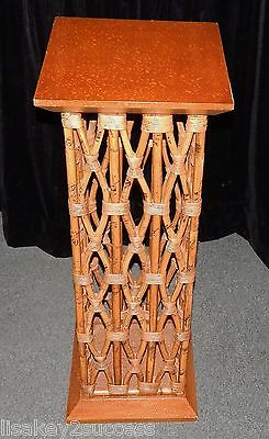"RARE Vintage River Rattan Wood Cognac Bamboo Pedestal 42"" Table Accent Stand"